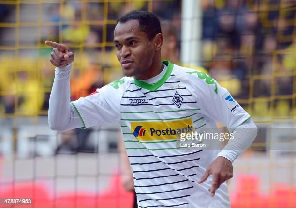 Raffael of Moenchengladbach celebrates after scoring his teams first goal during the Bundesliga match between Borussia Dortmund and Borussia...
