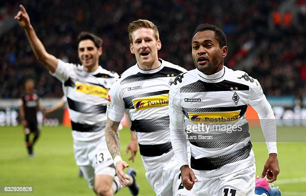 Raffael of Moenchengladbach celebrates after scoring his teams third goal during the Bundesliga match between Bayer 04 Leverkusen and Borussia...