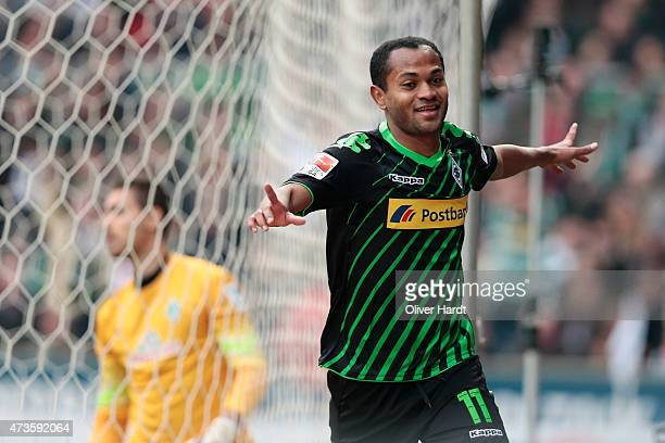 Raffael of Moenchengladbach celebrates after scoring their first goal during the First Bundesliga match between SV Werder Bremen and Borussia...
