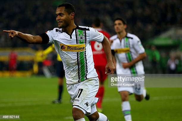 Raffael of Moenchengladbach celebrates the second during the Bundesliga match between Borussia Moenchengladbach and Hannover 96 at BorussiaPark on...