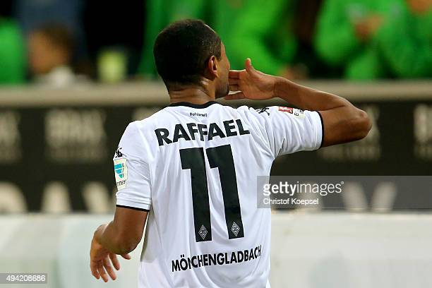 Raffael of Moenchengladbach celebrates the second goal during the Bundesliga match between Borussia Moenchengladbach and FC Schalke 04 at...