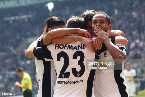 Raffael of Moenchengladbach celebrates the second goal during the Bundesliga match between Borussia Moenchengladbach and SV Darmstadt 98 at...