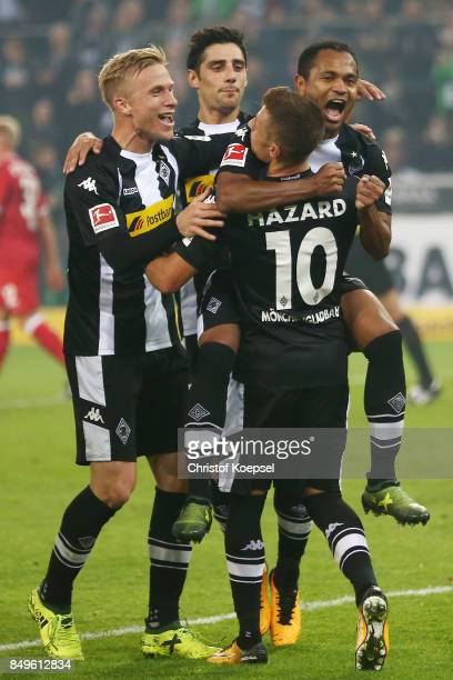 Raffael of Moenchengladbach celebrates with his team mates after he scored a penalty goal to make it 20 during the Bundesliga match between Borussia...
