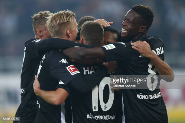 Raffael of Moenchengladbach is being celebrates by his team after he scored a penalty to make it 20 during the Bundesliga match between Borussia...