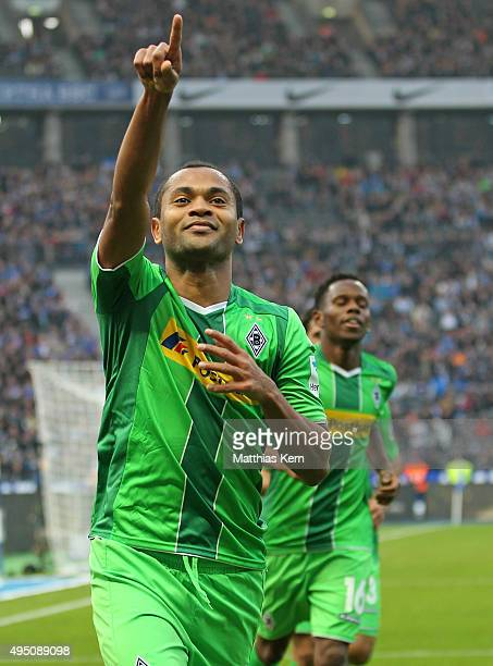 Raffael of Moenchengladbach jubilates after scoring the second goal during the Bundesliga match between Hertha BSC and Borussia Moenchengladbach at...