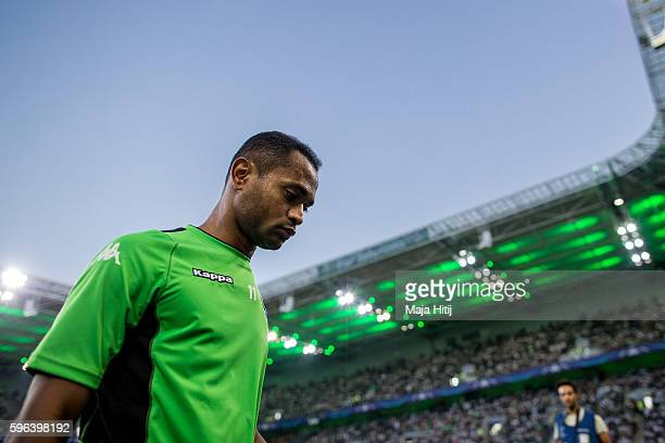 Raffael of Moenchengladbach leaves the pitch prior the UEFA Champions League Qualifying PlayOffs Round Second Leg between Borussia Moenchengladbach...