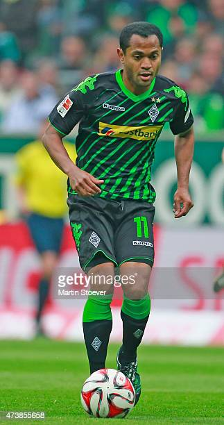 Raffael of Moenchengladbach plays the ball during the Bundesliga match between SV Werder Bremen and Borussia Moenchengladbach at Weserstadion on May...