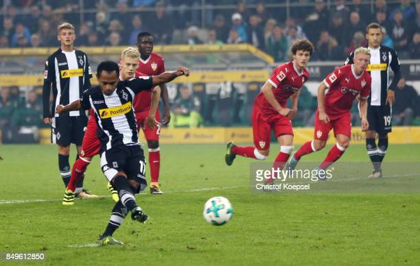 Raffael of Moenchengladbach scores a penalty goal to make it 20 during the Bundesliga match between Borussia Moenchengladbach and VfB Stuttgart at...