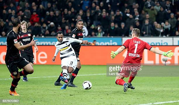 Raffael of Moenchengladbach scores his teams third goal during the Bundesliga match between Bayer 04 Leverkusen and Borussia Moenchengladbach at...