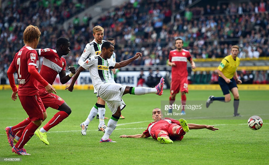 Raffael of Moenchengladbach shoots on goal during the Bundesliga match between Borussia Moenchengladbach and VfB Stuttgart at Borussia Park Stadium on August 24, 2014 in Moenchengladbach, Germany.