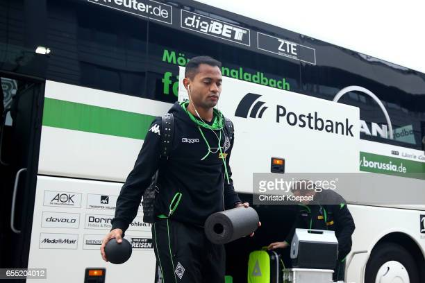 Raffael of Moenchengladbach walks out of the bus prior to the Bundesliga match between Borussia Moenchengladbach and Bayern Muenchen at BorussiaPark...