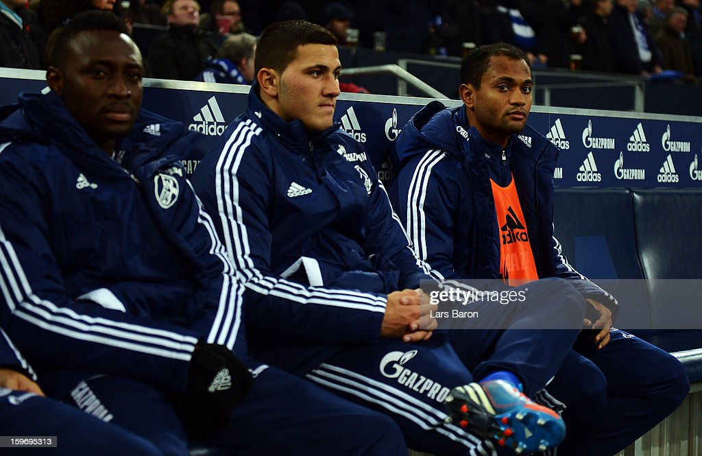 Raffael of Schalke is seen on the bench during the Bundesliga match between FC Schalke 04 and Hannover 96 at Veltins-Arena on January 18, 2013 in Gelsenkirchen, Germany.