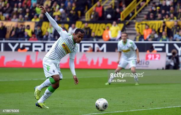 Raffael scores his teams first goal during the Bundesliga match between Borussia Dortmund and Borussia Moenchengladbach at Signal Iduna Park on March...
