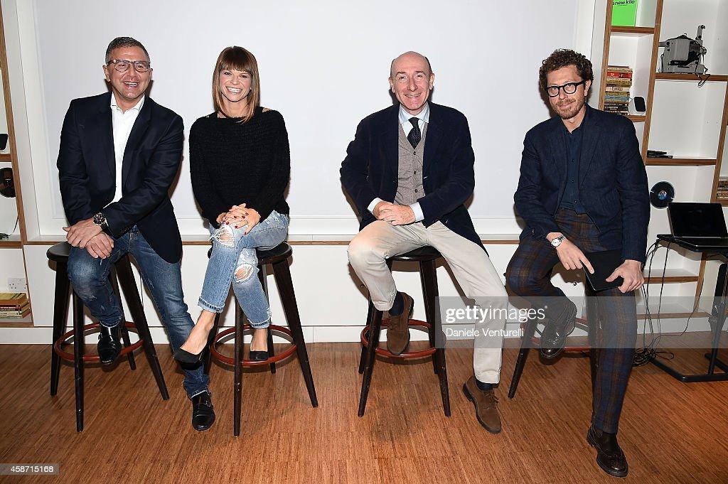 Raffaele Annecchino, Alessandra Amoroso, Roberto Arditti and Andrea Castellari attend Press Conference for Milan, city of Expo2015, will host next year MTV EMA show on November 9, 2014 in Glasgow, Scotland.