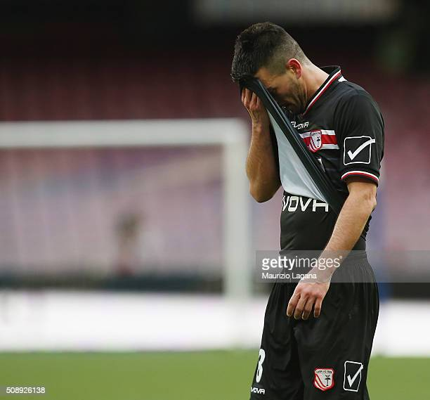 Raffaele Bianco of Carpi shows his dejection during the Serie A match between SSC Napoli and Carpi FC at Stadio San Paolo on February 7 2016 in...