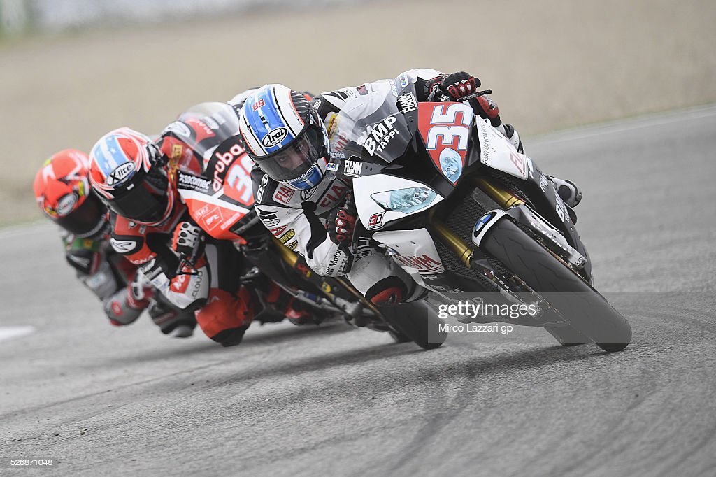 Raffaele De Rosa of Italy and Althea BMW Racing Team leads the field during the Superstock 1000 race during the World Superbikes - Race at Enzo & Dino Ferrari Circuit on May 10, 2015 in Imola, Italy.