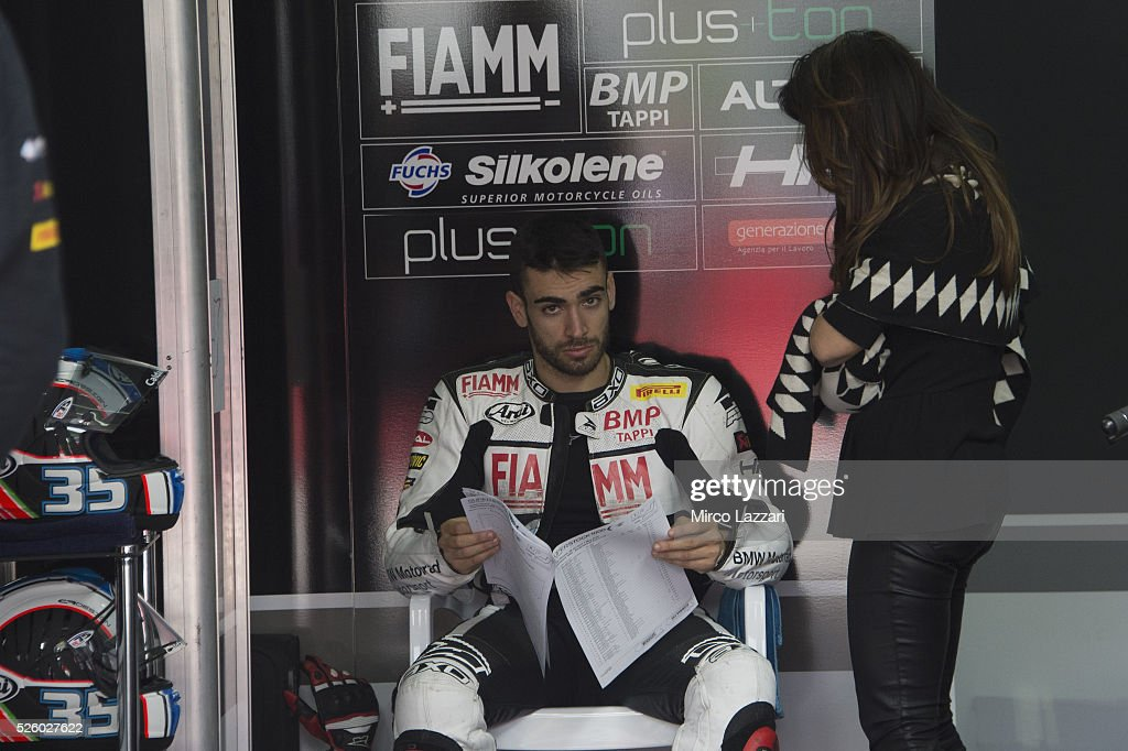 Raffaele De Rosa of Italy and Althea BMW Racing Team reads in box during the World Superbikes - Practice at Enzo & Dino Ferrari Circuit on April 29, 2016 in Imola, Italy.
