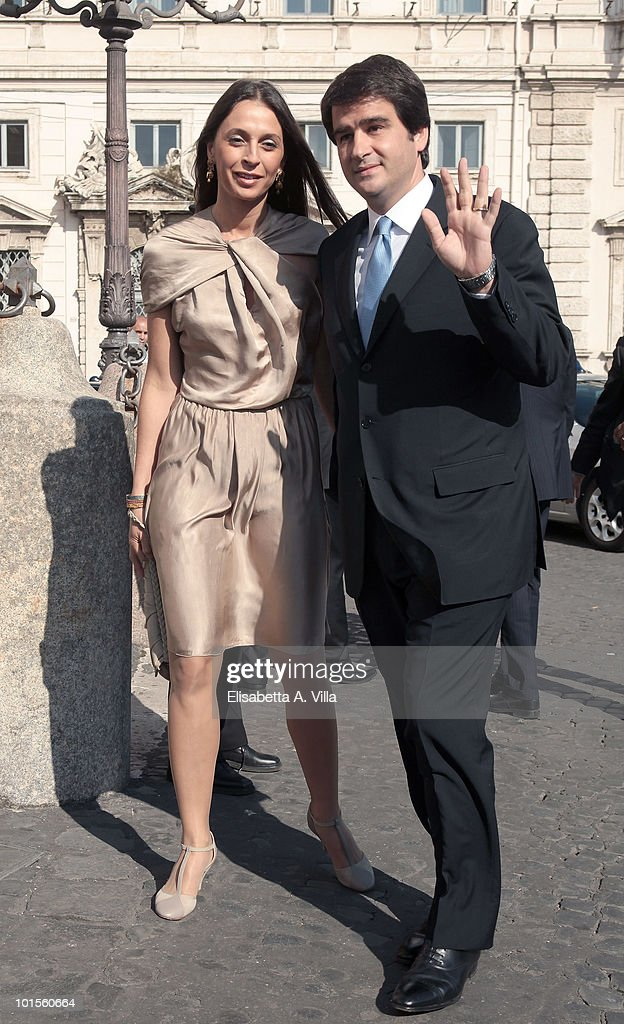 Raffaele Fitto and wife arrive at the Quirinale Palace to attend a Gala Dinner hosted by Italy's President Giorgio Napolitano on June 1, 2010 in Rome, Italy.