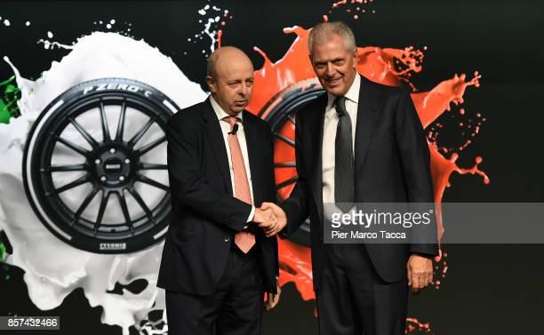Raffaele Jerusalmi CEO of Borsa Italiana and Marco Tronchetti Provero CEO of Pirelli attends a ceremony announcing the return of Pirelli to the Milan...