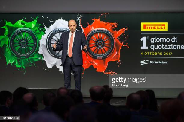 Raffaele Jerusalmi chief executive officer of Borsa Italiana SpA gestures while he speaks during the Pirelli C SpAlaunch ceremony at the Borsa...