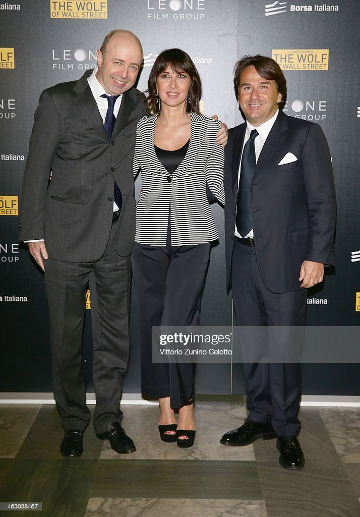 Raffaele Jerusalmi, Raffaella Leone and Andrea Leone attends 'The Wolf Of Wall Street' Milan Premiere on January 16, 2014 in Milan, Italy.