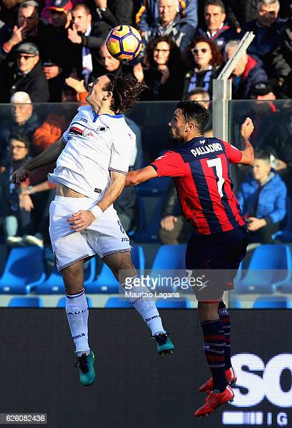 Raffaele Palladino of Crotone competes for the ball in air with Edgar Barreto of Sampdoria during the Serie A match between FC Crotone and UC...