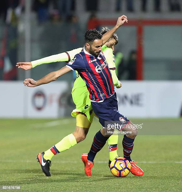 Raffaele Palladino of Crotone competes for the ball with Adam Nagy of Bologna during the Serie A match between FC Crotone and Bologna FC at Stadio...