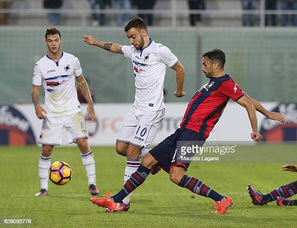 Raffaele Palladino of Crotone competes for the ball with Bruno Fernades of Sampdoria during the Serie A match between FC Crotone and UC Sampdoria at...