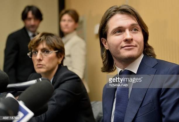Raffaele Sollecito and his lawyer Giulia Bongiorno deliver a press conference in Rome on March 30 2015 Italy's top court on March 27 has thrown out...