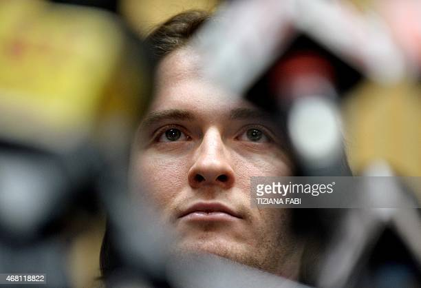 Raffaele Sollecito looks on during a press conference in Rome on March 30 2015 Italy's top court on March 27 has thrown out Raffaele Sollecito and...