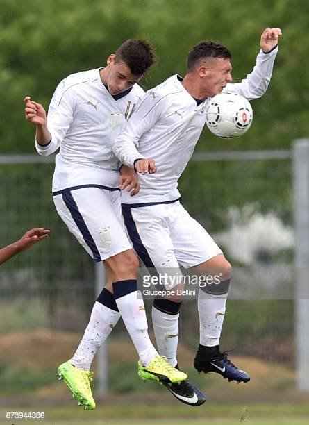 Raffaele Spina and Christian Dimarco of Italy U15 in action during the Torneo delle Nazioni match between Italy U15 and UAE U15 on April 27 2017 in...