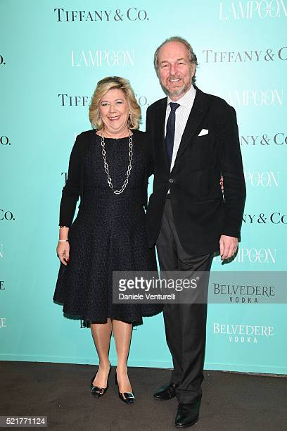 Raffaella Banchero and Arturo Artom attend The Fashionable Lampoon cocktail and dinner for The DOT Circle in via Bagutta on April 16 2016 in Milan...