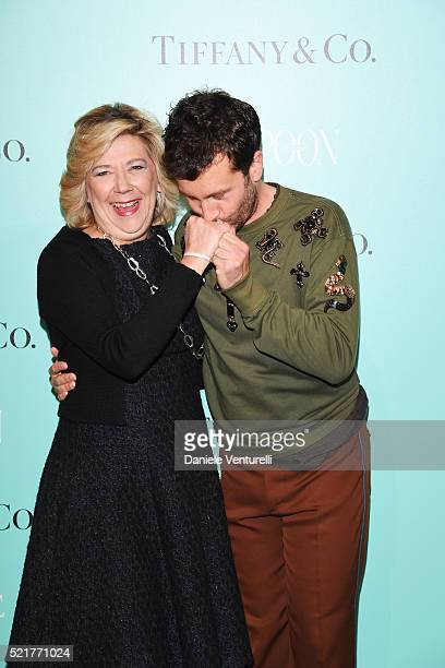 Raffaella Banchero and Carlo Mazzoni attend The Fashionable Lampoon cocktail and dinner for The DOT Circle in via Bagutta on April 16 2016 in Milan...