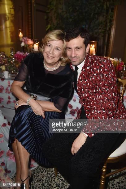 Raffaella Banchero and Carlo Mazzoni attend the TiffanyCo And Luisa Beccaria party during Milan Fashion Week Fall/Winter 2017/18 on February 23 2017...