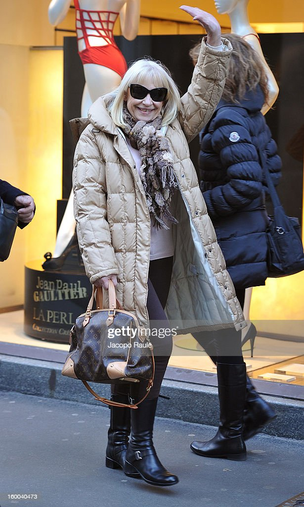 Raffaella Carra is seen on January 25, 2013 in Milan, Italy.
