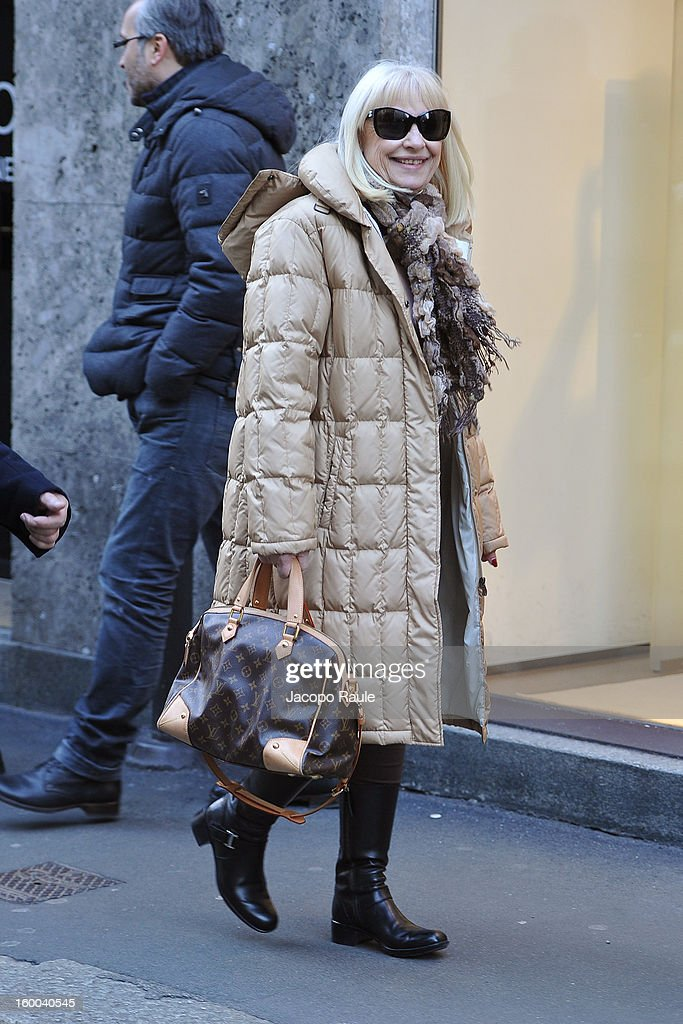 <a gi-track='captionPersonalityLinkClicked' href=/galleries/search?phrase=Raffaella+Carra&family=editorial&specificpeople=2838357 ng-click='$event.stopPropagation()'>Raffaella Carra</a> is seen on January 25, 2013 in Milan, Italy.