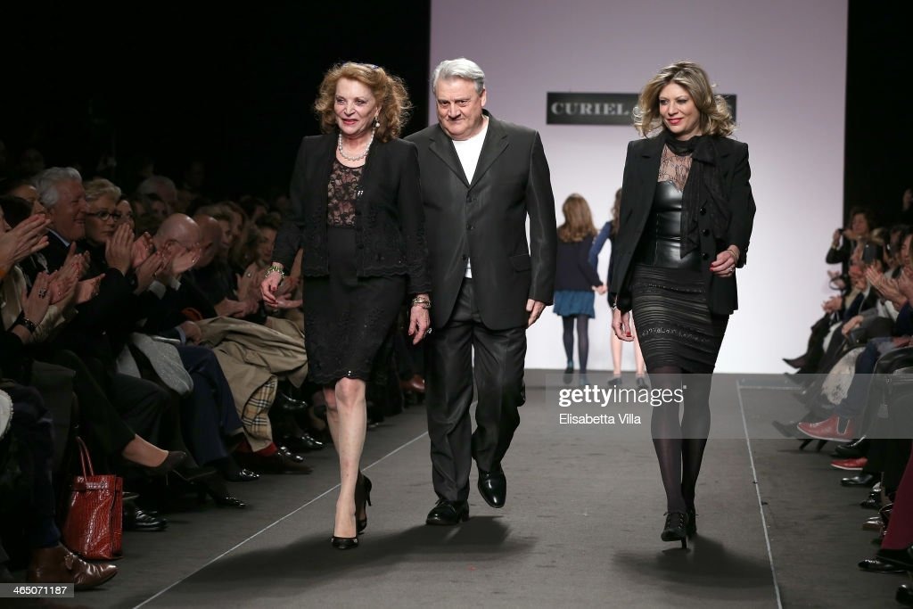 Raffaella Curiel and daughter Gigliola Curiel walk the runway during Curiel Couture S/S 2014 Italian Haute Couture collection fashion show as part of...