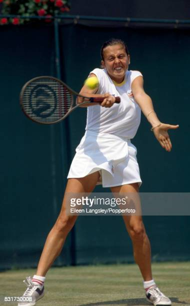 Raffaella Reggi of Italy in action during a women's singles final at the Wimbledon Lawn Tennis Championships in London circa June 1986 Reggi lost in...