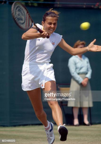 Raffaella Reggi of Italy in action during a women's singles match at the Wimbledon Lawn Tennis Championships in London circa June 1986 Reggi lost in...