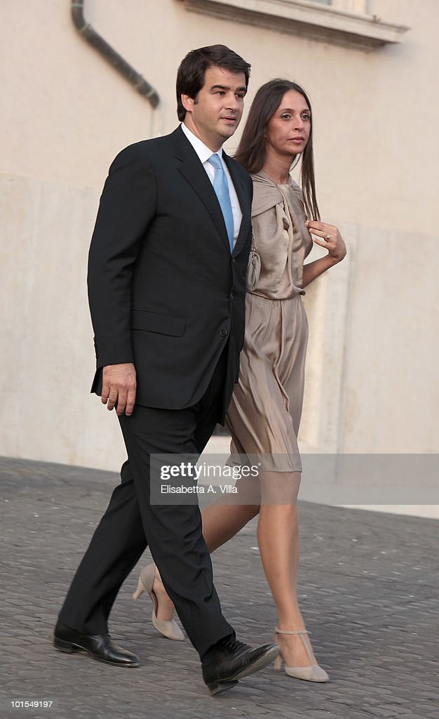 Raffale Fitto and wife arrive at the Quirinale Palace to attend a gala dinner hosted by Italian President Giorgio Napolitano on June 1, 2010 in Rome, Italy.