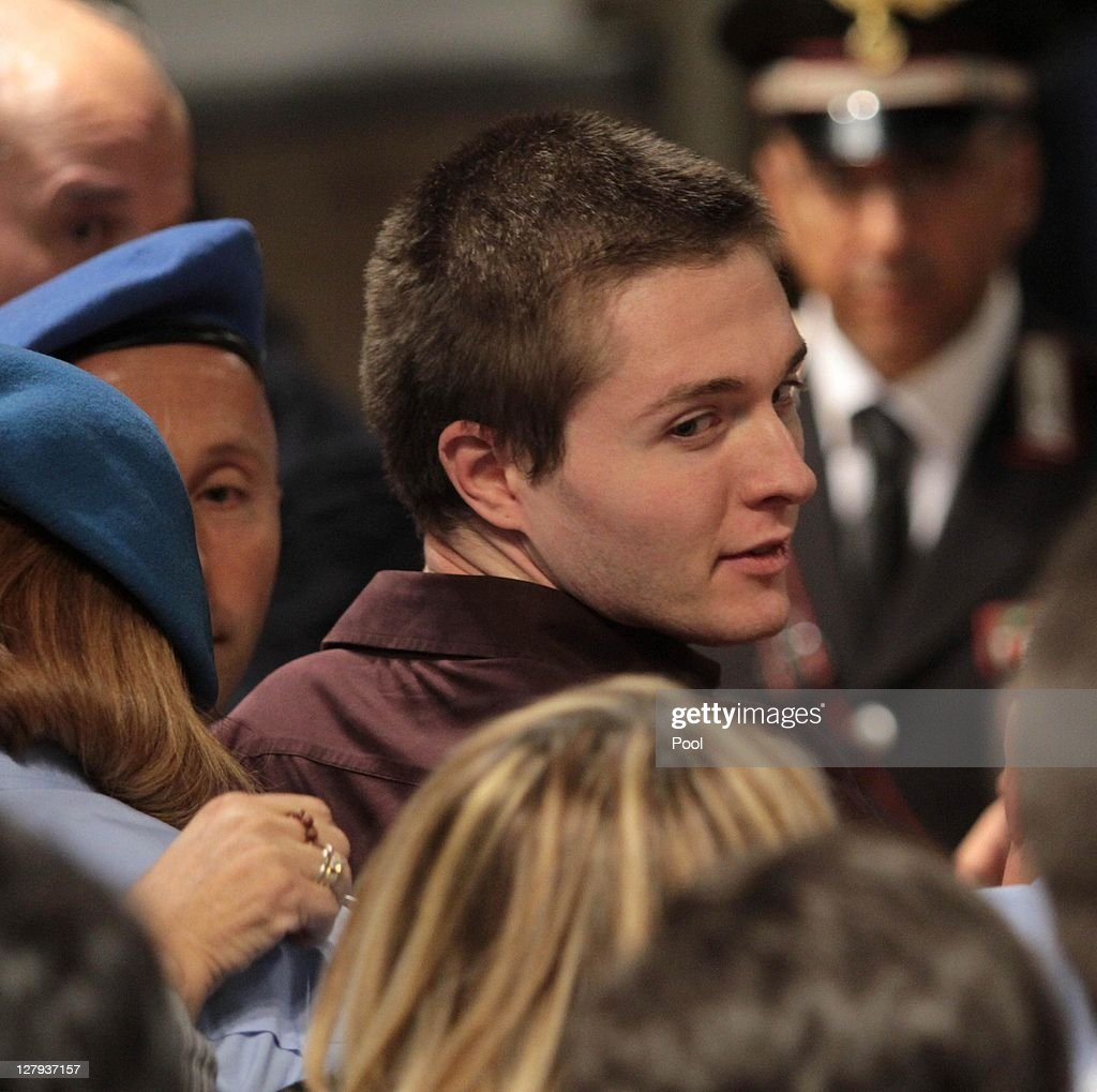 Raffale Sollecito looks on after hearing the verdict, that overturns his conviction and acquits him of murdering Meredith Kercher, at the Perugia court on October 3, 2011 in Perugia, Italy. American student Amanda Knox and her Italian ex-boyfriend Raffaele Sollecito have won their appeal against their conviction in 2009 of killing their British roommate Meredith Kercher in Perugia, Italy in 2007. The pair had served nearly four years in jail after initially being sentenced to 26 and 25 years respectively.