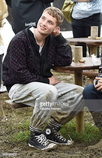 Rafferty Law wears Converse at Glastonbury Festival 2016 at Glastonbury Festival Site on June 26 2016 in Glastonbury England