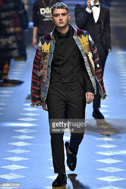 Rafferty Law walks the runway at the Dolce Gabbana show during Milan Men's Fashion Week Fall/Winter 2017/18 on January 14 2017 in Milan Italy