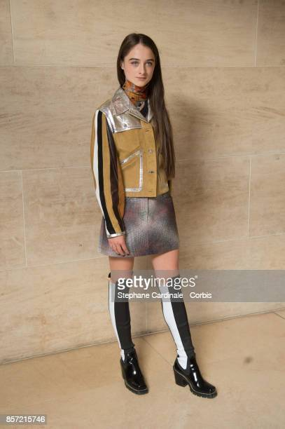 Raffey Cassidy attends the Louis Vuitton show as part of the Paris Fashion Week Womenswear Spring/Summer 2018 at Musee du Louvre on October 3 2017 in...