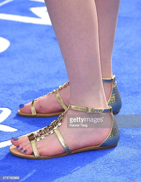 Raffey Cassidy shoe detail attends the European premiere of 'Tomorrowland A World Beyond' at Odeon Leicester Square on May 17 2015 in London England