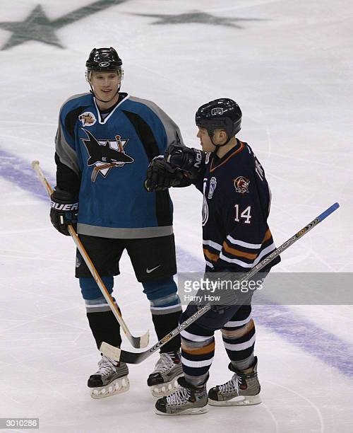 Raffi Torres of the Edmonton Oilers and YoungStars West is congratulated after his goal against the YoungStars East that tied the game at 11 by...