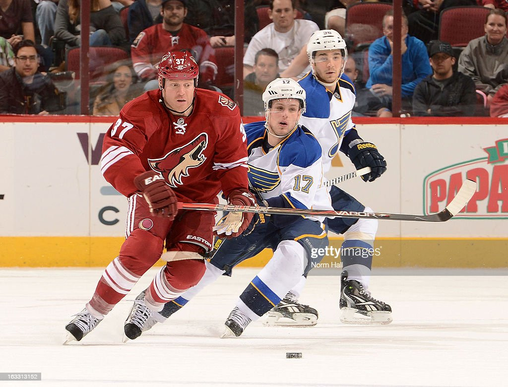 <a gi-track='captionPersonalityLinkClicked' href=/galleries/search?phrase=Raffi+Torres&family=editorial&specificpeople=204612 ng-click='$event.stopPropagation()'>Raffi Torres</a> #37 of the Phoenix Coyotes and <a gi-track='captionPersonalityLinkClicked' href=/galleries/search?phrase=Vladimir+Sobotka&family=editorial&specificpeople=716736 ng-click='$event.stopPropagation()'>Vladimir Sobotka</a> #17 of the St Louis Blues battle for for position during the third period at Jobing.com Arena on March 7, 2013 in Glendale, Arizona.