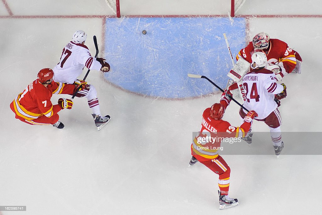<a gi-track='captionPersonalityLinkClicked' href=/galleries/search?phrase=Raffi+Torres&family=editorial&specificpeople=204612 ng-click='$event.stopPropagation()'>Raffi Torres</a> #37 of the Phoenix Coyotes shoots the puck past the defence of <a gi-track='captionPersonalityLinkClicked' href=/galleries/search?phrase=Joey+MacDonald&family=editorial&specificpeople=2234367 ng-click='$event.stopPropagation()'>Joey MacDonald</a> #35 of the Calgary Flames skates during an NHL game at Scotiabank Saddledome on February 24, 2013 in Calgary, Alberta, Canada.