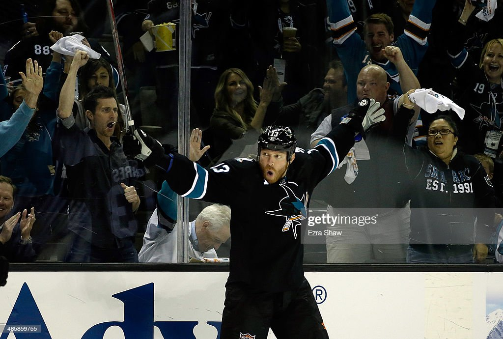 Raffi Torres #13 of the San Jose Sharks celebrates after he scored a goal in the second period of their game against the Los Angeles Kings in Game Two of the First Round of the 2014 NHL Stanley Cup Playoffs at SAP Center on April 20, 2014 in San Jose, California.