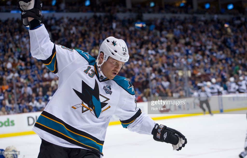 <a gi-track='captionPersonalityLinkClicked' href=/galleries/search?phrase=Raffi+Torres&family=editorial&specificpeople=204612 ng-click='$event.stopPropagation()'>Raffi Torres</a> #13 of the San Jose Sharks celebrates after scoring the game-winning goal against the Vancouver Canucks for a 3-2 victory in overtime in Game Two of the Western Conference Quarterfinals of the 2013 NHL Stanley Cup Playoffs, May 03, 2013 at Rogers Arena in Vancouver, British Columbia, Canada.